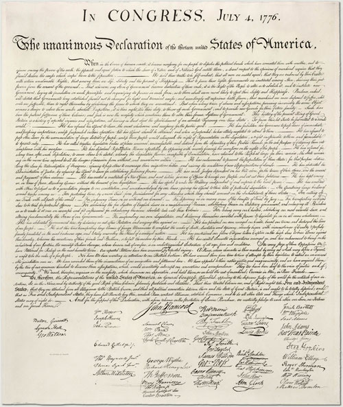 the american declaration of independence 1776. COPY of the Declaration of